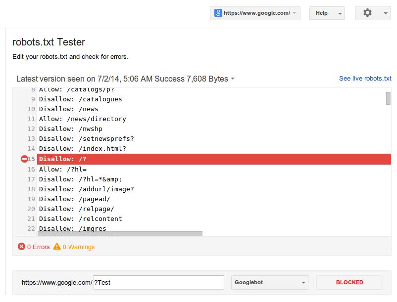 Robots.txt Tester มาทดสอบ File Robots ของคุณกันที่ Google Webmaster Tools กัน